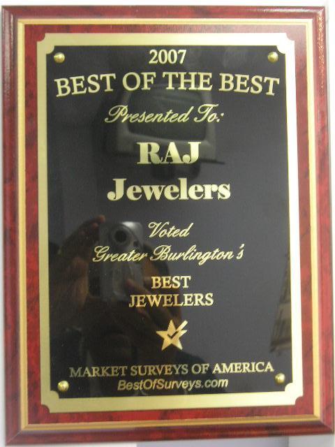 Raj Jewelers Receives Greater Burlington's Best Jewelers Award