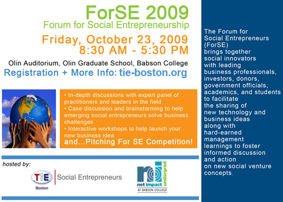 TIE-Boston Hosts ForSE 2009: Forum For Social Entrepreneurs