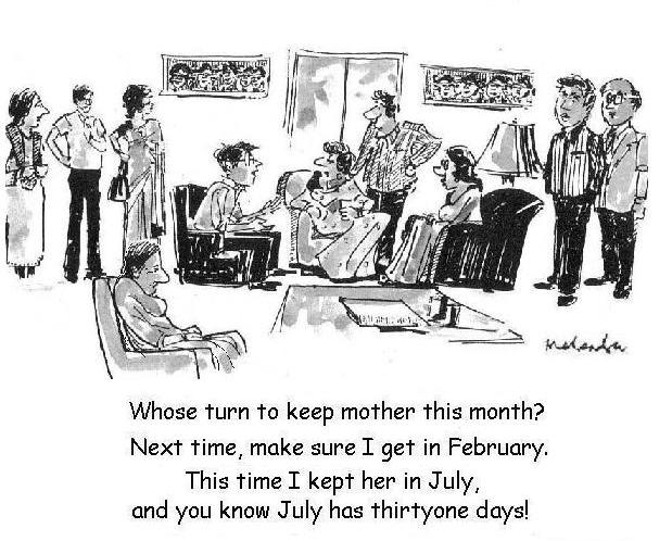 Cartoon - Whose Turn To Keep Mother This Month?