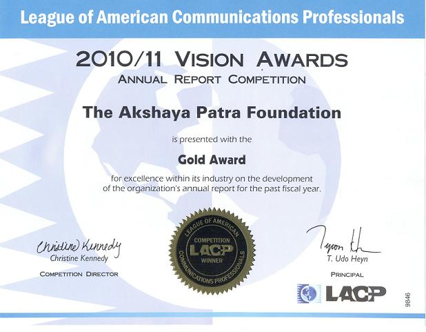 Akshaya Patra Foundation Bags Multiple Awards For Outstanding Reporting