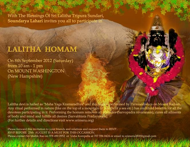 Lalitha Homam On Mount Washington