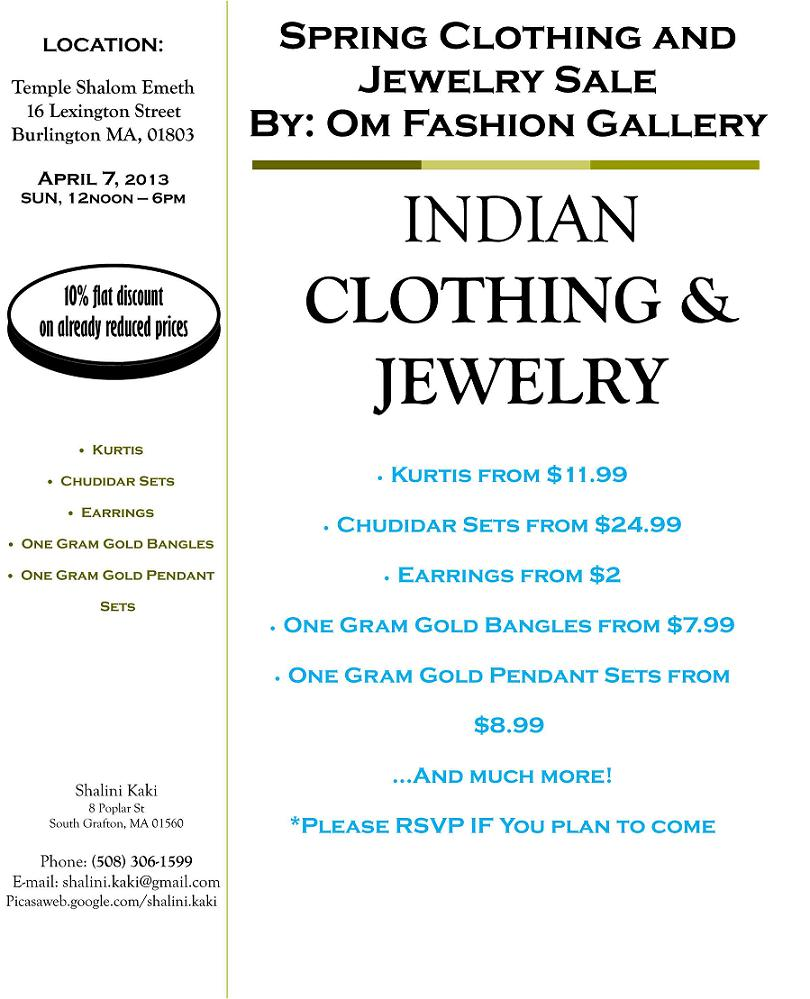 Om Fashion Gallery: Showcasing Spring Clothing And Jewelry Sale