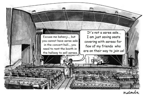 Cartoon: Saree Sale In Concert Hall