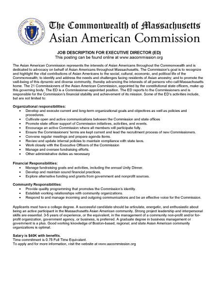 Classified: Executive Director - Asian AMerican Commission