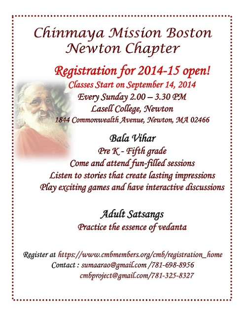 Registration Open For Chinmaya Mission Newton