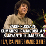 Zakir Hussain, Kumaresh Rajagopalan & Jayanthi Kumaresh At Boston University