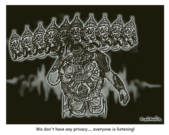 Cartoon: Ravan On Phone