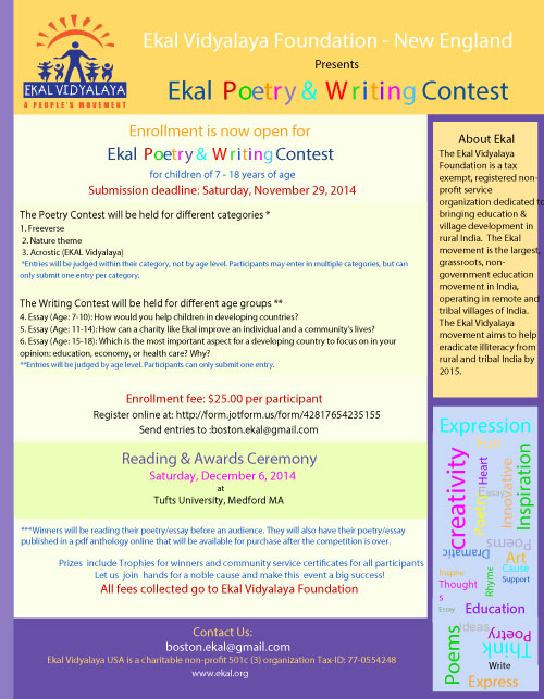 Ekal Poetry And Writing Contest