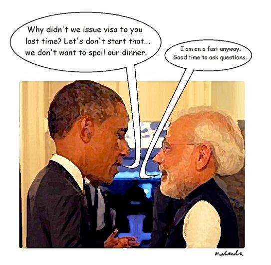 Catoon: Obama Meets Modi