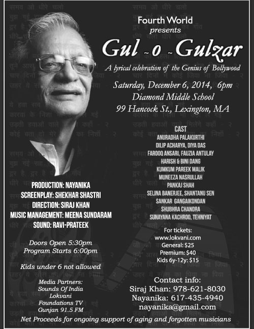Gul-o-Gulzar ~ A Musical Drama To Celebrate Bollywood Filmmaker Gulzar
