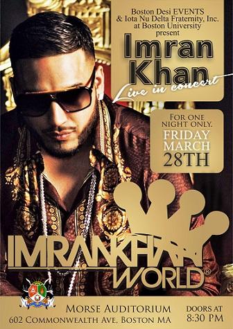 International Sensation Imran Khan Live In Boston