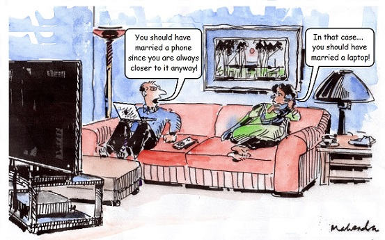 Cartoon: On Phone