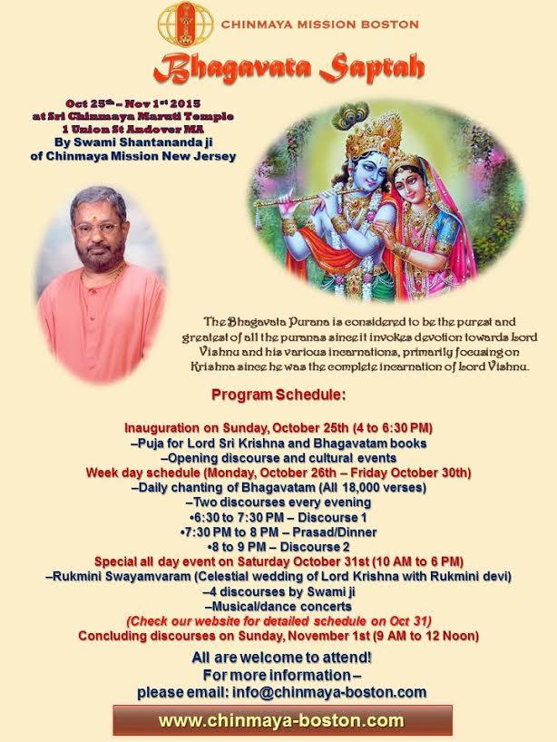 Chinmaya Mission To Host Bhagavata Saptah