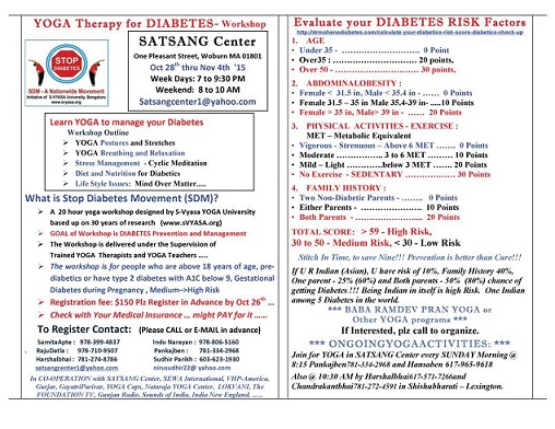 Yoga Therapy For Diabetes Workshop