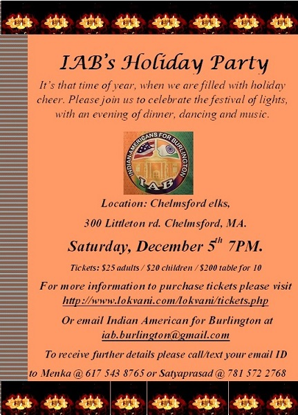 Indian Americans For Burlington Holiday Party