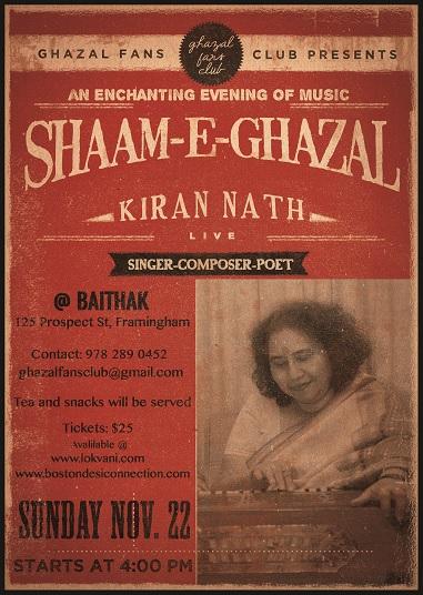 Ghazal Fans Club Presents Shaam-E-Ghazal With Kiran Nath