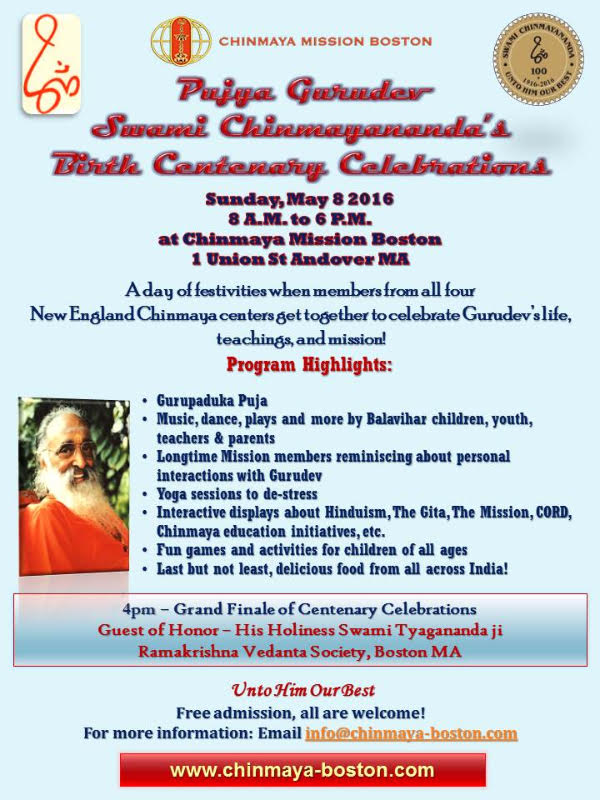 Swami Chinmayananda's Birth Centenary Celebrations