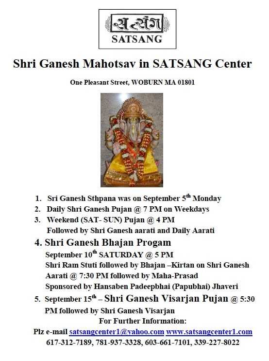 Shri Ganesh Mahotsav At Satsang Center