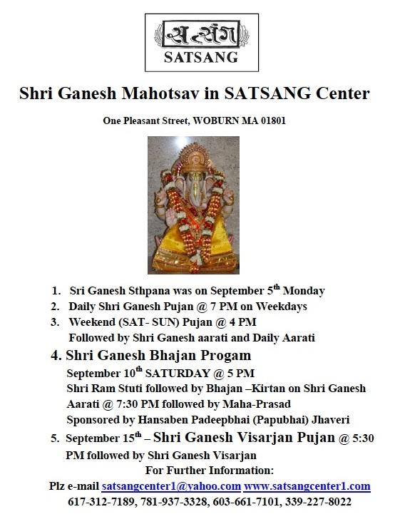 Shri Ganesh Mahotsav At Satsang Center