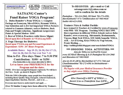 Satsang Center Fundraiser - Yoga Programs