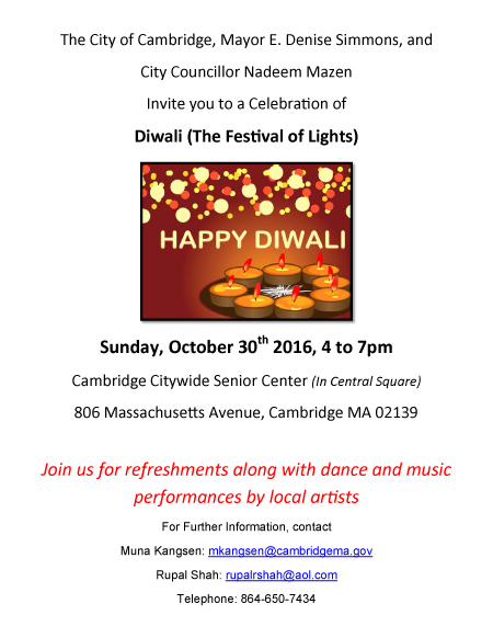 Cambridge City To Hold First Ever Diwali Celebrations