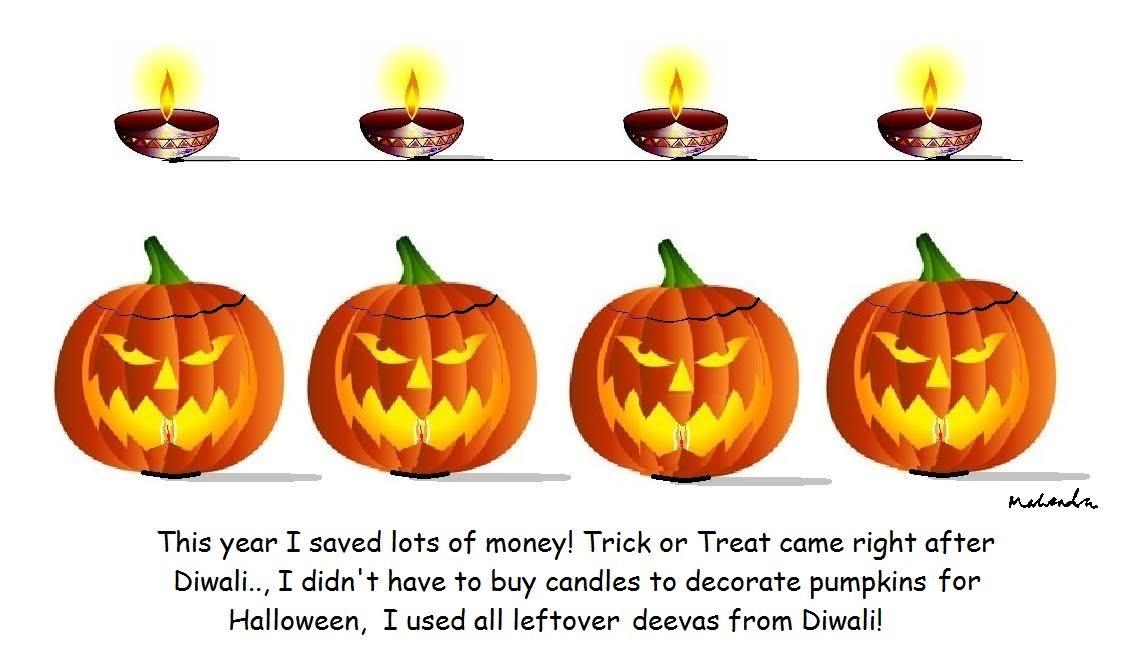 Cartoon:  Diwali And Halloween