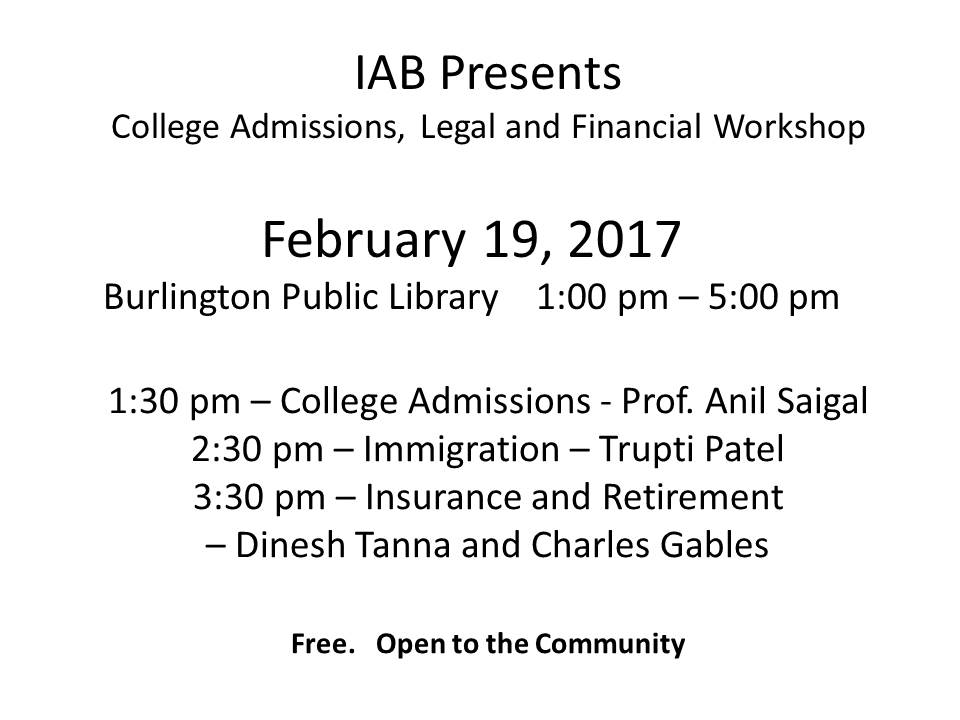 IAB College Admissions, Immigration And Financial Workshops