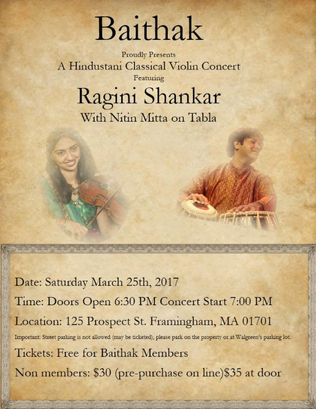 First Baithak Of 2017: Hindustani Classical Violin Concert By Ragini Shankar.