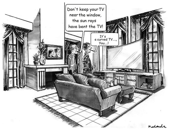 Cartoon: Curved TV