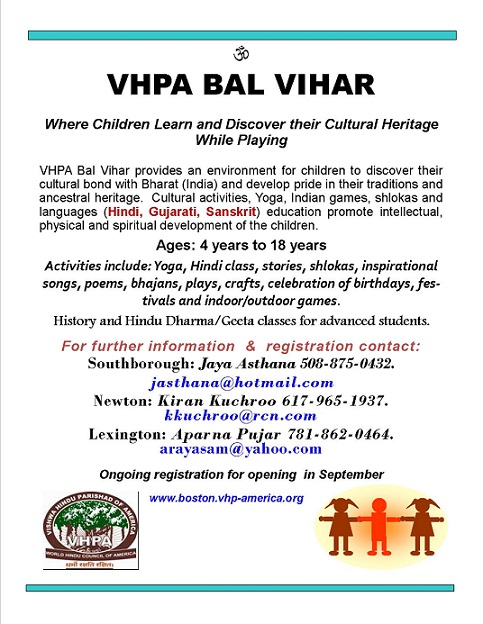 Register Now For VHPA Bal Vihar