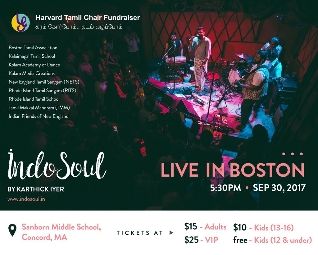 Harvard Tamil Chair - New England - Indosoul - Karthick Iyer Live At Boston