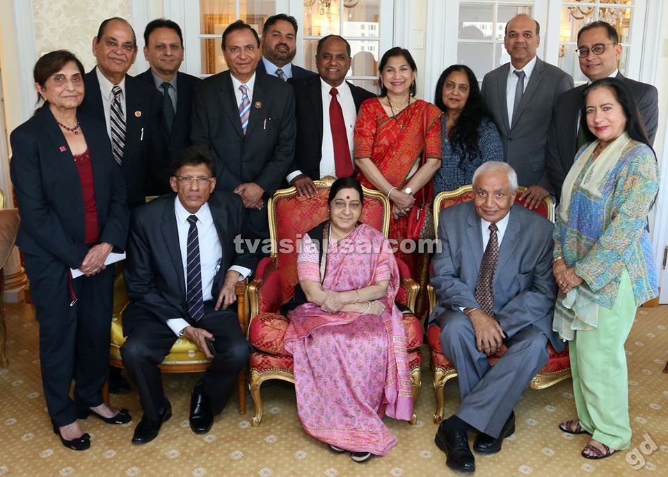 GOPIO Delegation Discusses Diaspora Issues With Indian MEA Sushma Swaraj