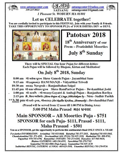Satsang Center Celebrates Patotsav 2018