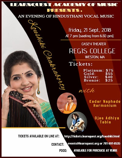Star Hindustani Vocalist Kaushiki Chakraborty To  Perform At Regis College