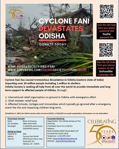 An Appeal For Help For Those Affected By Cyclone Fani