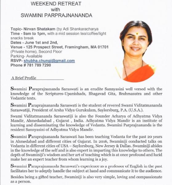 Nirvan Shatakam Retreat With Swamini Parprajnananda