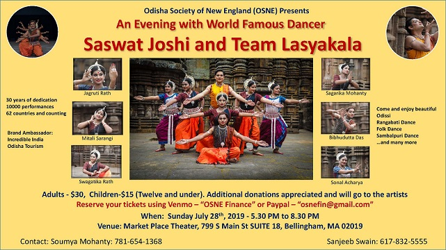OSNE Presents: An Evening With World Famous Dancer Saswat Joshi And Team Lasyakala