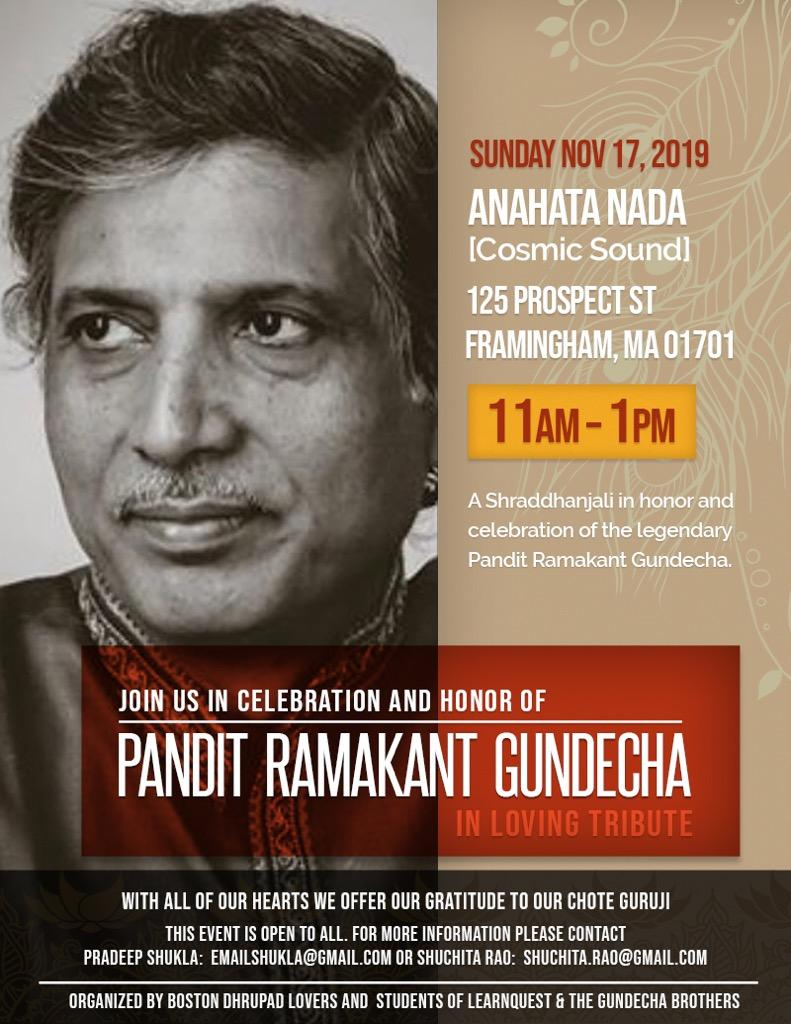"""Anahata Nada"" – A Memorial For The Late Pandit Ramakant Gundecha"