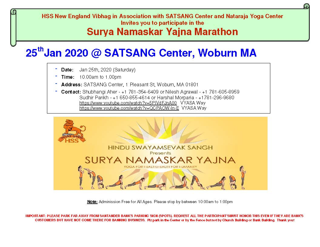 Surya Namaskar Yajna Marathon And Vasant Panchami At Satsang Center