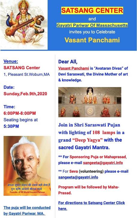 Satsang Center To Celebrate Vasant Panchami