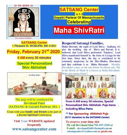 Satsang Center: Maha Shivratri