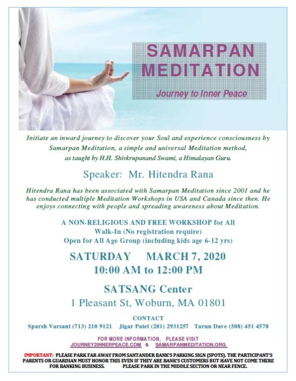 Satsang Center To Host Samarpan Meditation Program And Holi Celebration