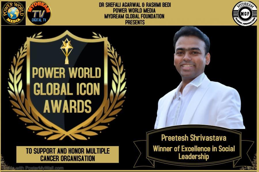 Preetesh Shrivastava Receives Excellence In Social Leadership Award