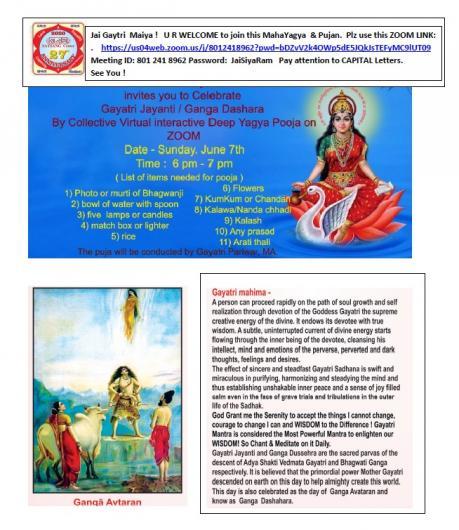 Deep Yagya Pooja To Celebrate Gayatri Jayanti / Ganga Dashara
