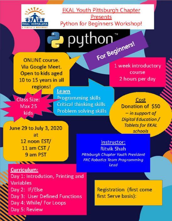Ekal Presents Python For Beginners Workshop