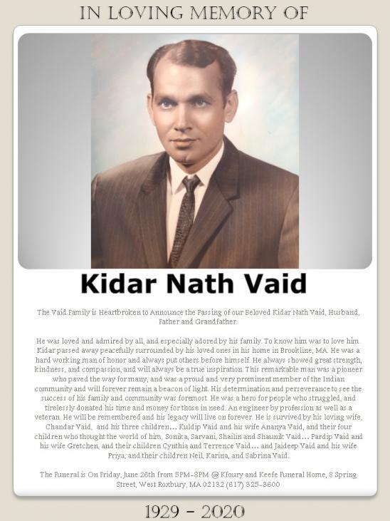Obituary: Kidar Nath Vaid