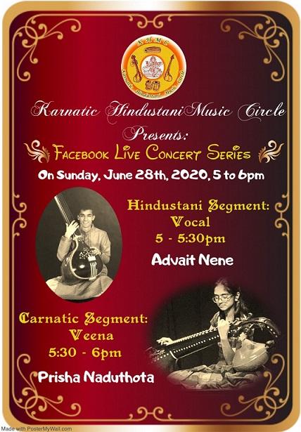 Karnatic Hindustani Music Circle (KHMC) Conducts FaceBook Live Concert Series