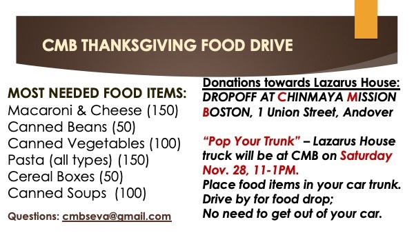 Chinmaya Mission Boston Thanksgiving Food Drive