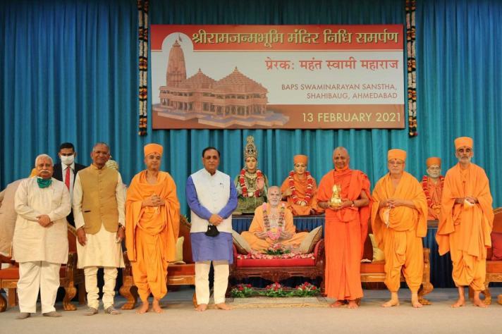 BAPS Donates For The Ram Janmabhumi Mandir