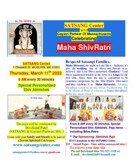 Maha Shivaratri At Satsang Center